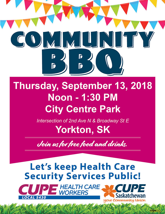 Community BBQ CUPE 5430 and CUPE SK